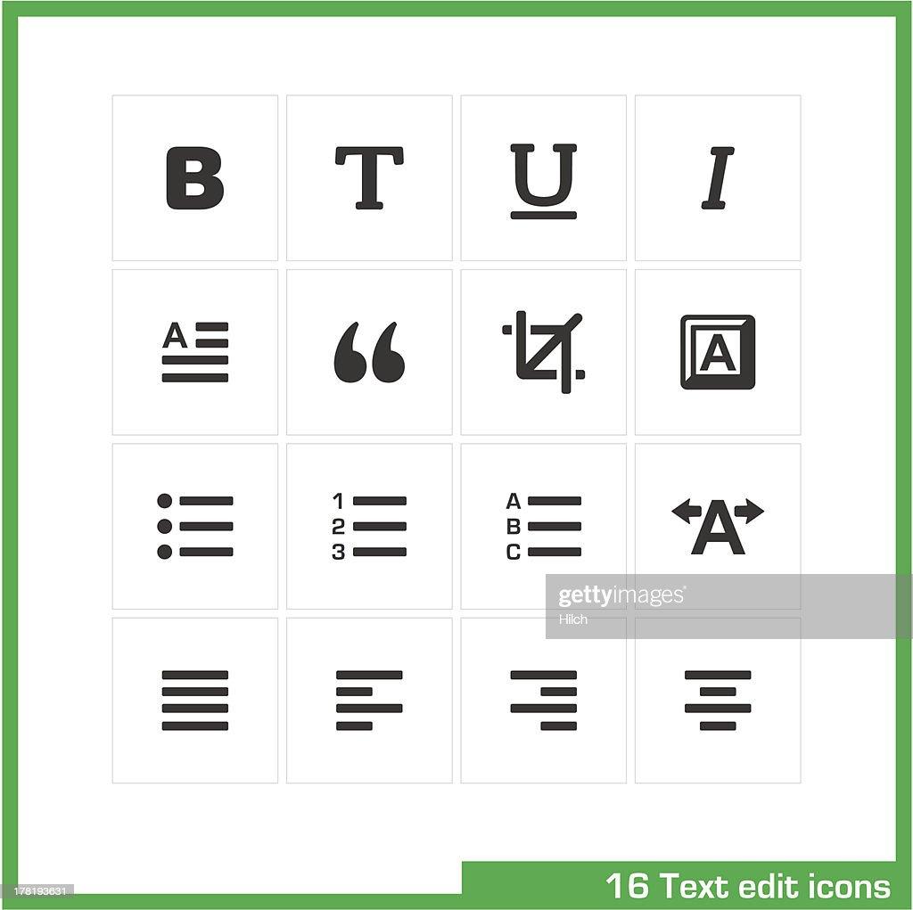 Text edit icon set