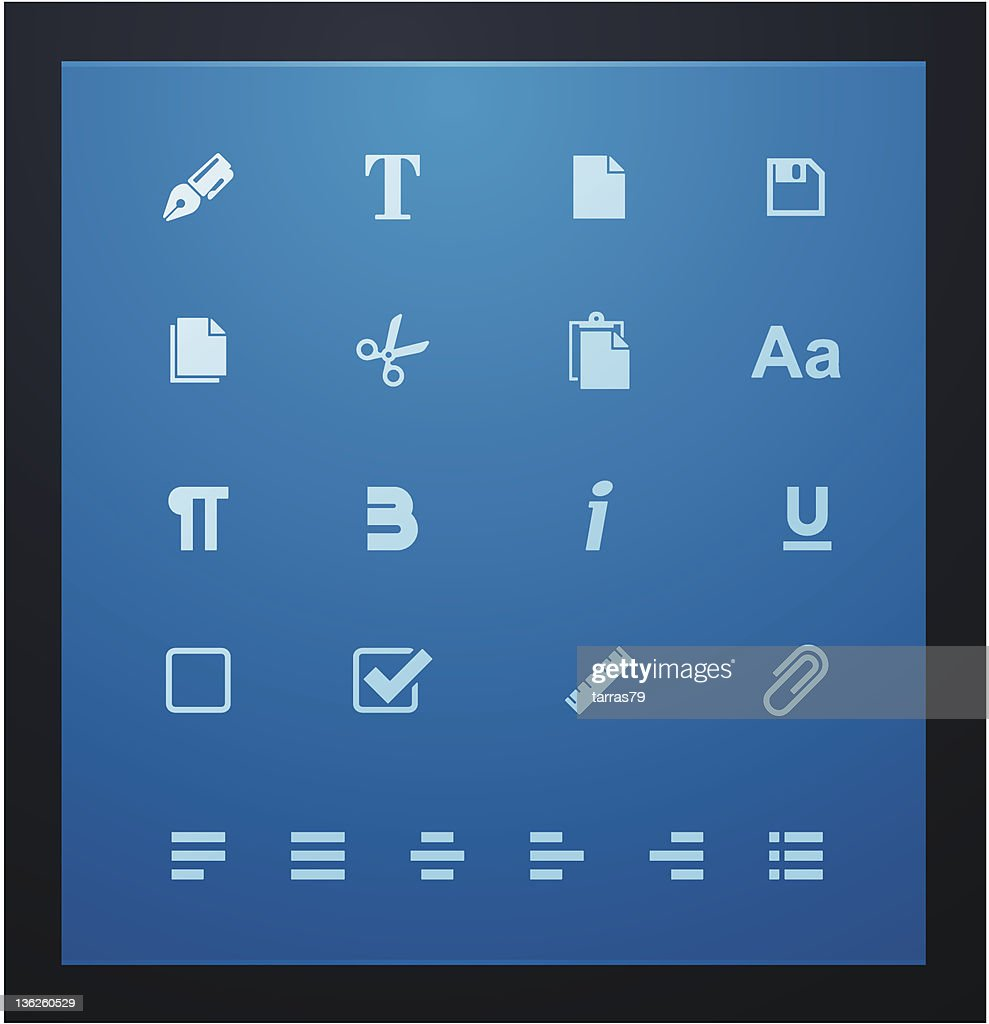 Text editing glyphs set