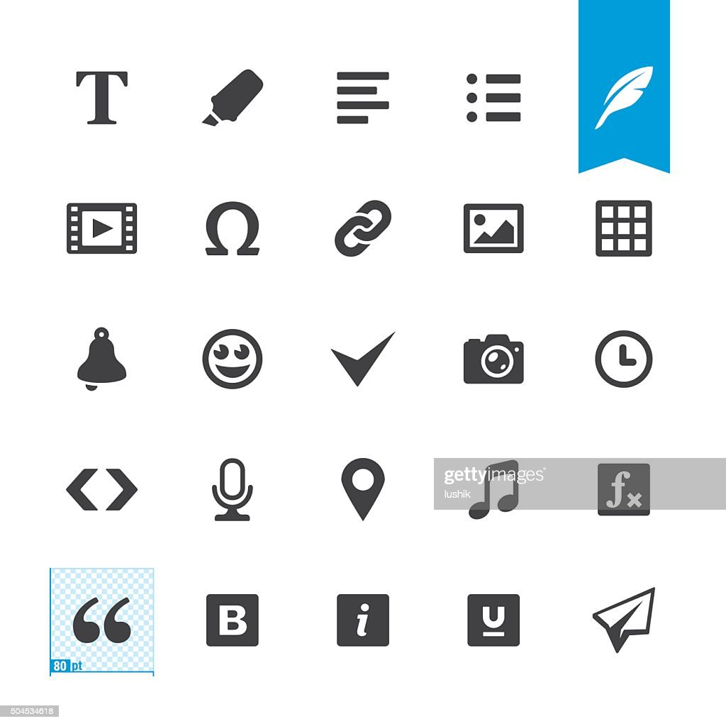Text editor related vector icons : stock illustration