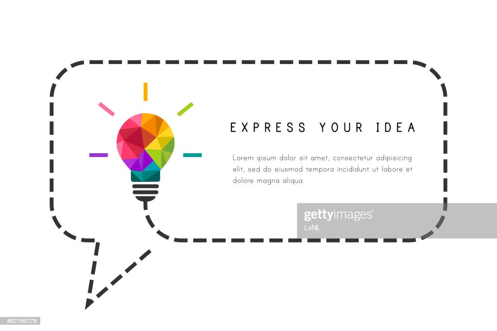 Text frame template with lightbulb and speech bubble