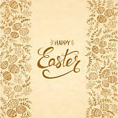 Text Happy Easter with eggs and floral elements