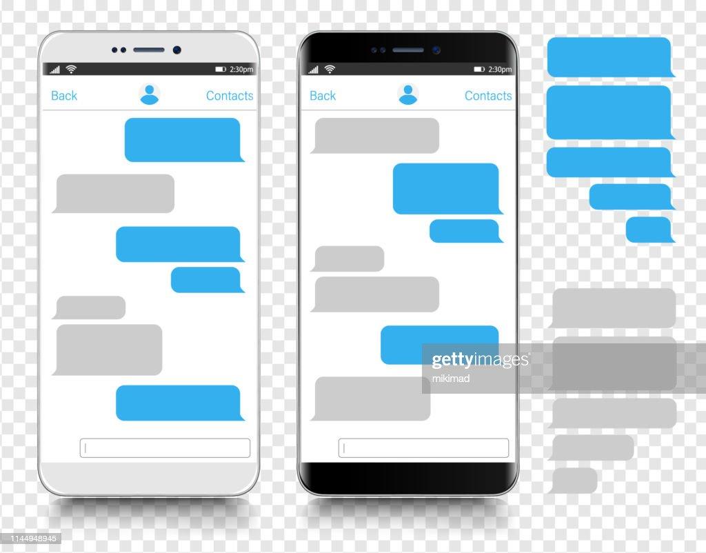 Tekstberichten. Smartphone, mobiele telefoon sjabloon realistische vector illustratie. Spraakballon. Discussie : Stockillustraties