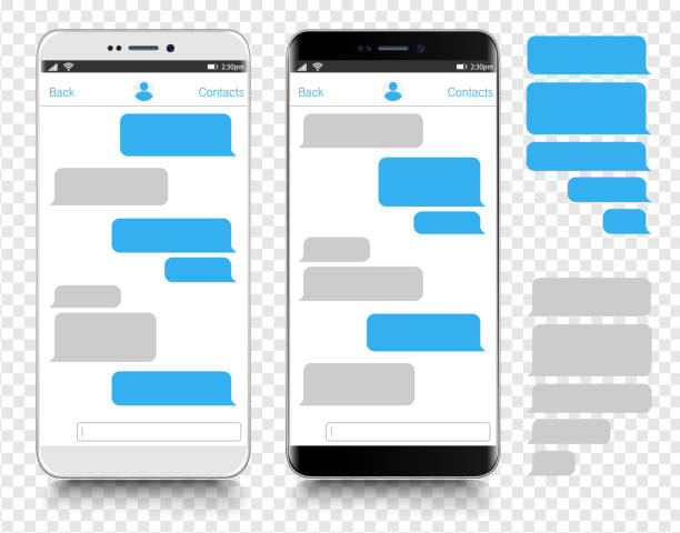 text messaging. smartphone, mobile phone template realistic vector  illustration. speech bubble. discussion - bubble stock illustrations