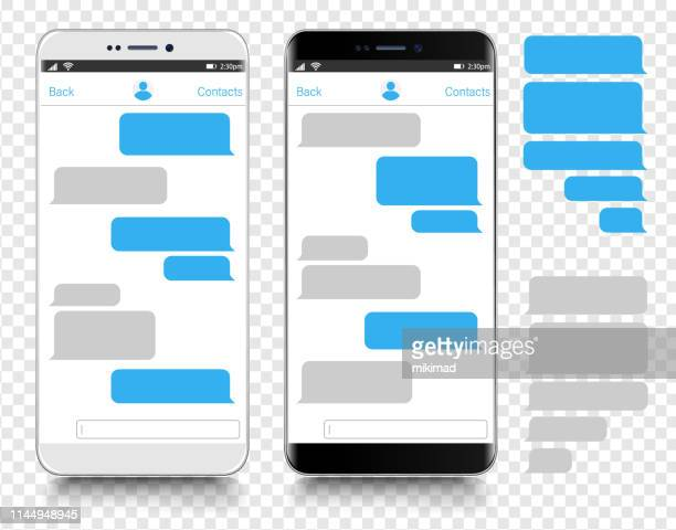 text messaging. smartphone, mobile phone template realistic vector  illustration. speech bubble. discussion - device screen stock illustrations