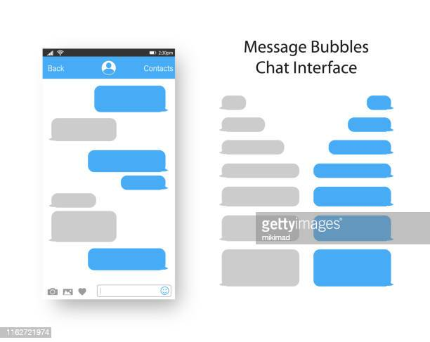 text messaging. smartphone, mobile phone template realistic vector  illustration. speech bubble. discussion - online messaging stock illustrations