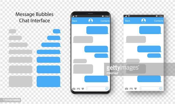ilustraciones, imágenes clip art, dibujos animados e iconos de stock de mensajería de texto. smartphone, plantilla de teléfono móvil ilustración vectorial realista. burbuja de habla. discusión - mensaje de texto