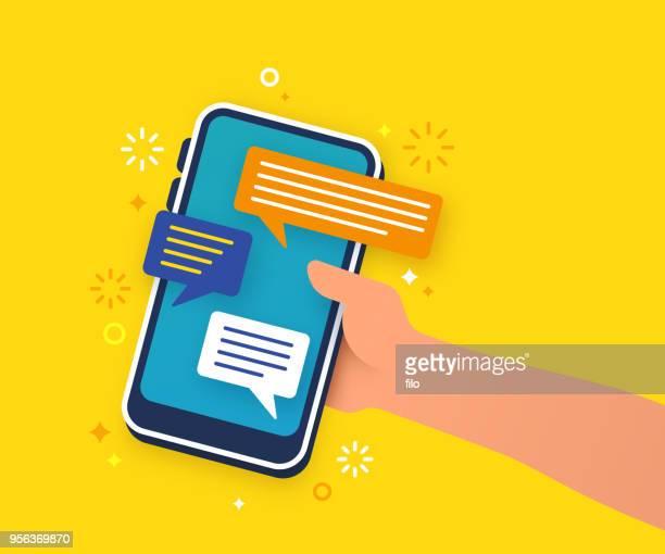 stockillustraties, clipart, cartoons en iconen met mobiele communicatie van de tekst - sms'en