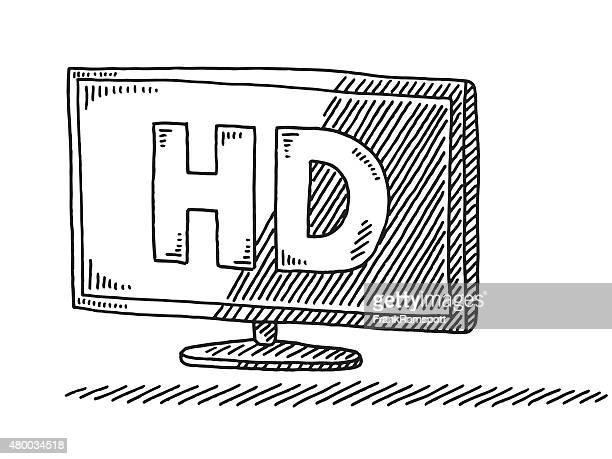 HD Text On Flatscreen TV Drawing