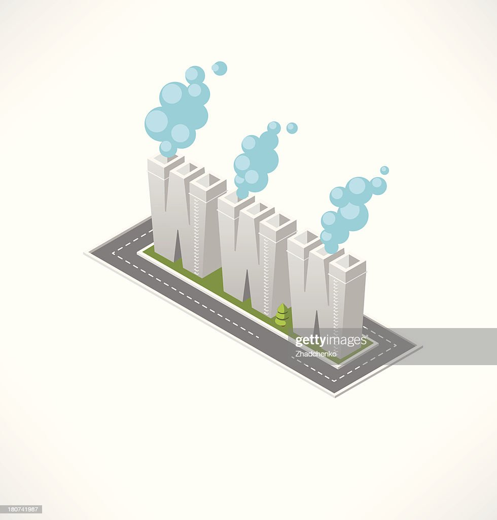 Text plant. WWW technology. Isometric building.