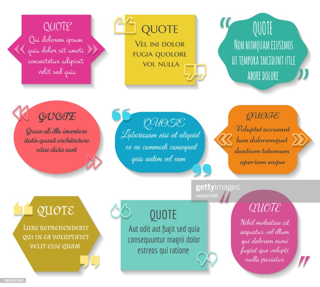 Text quotes box set. Vector texting quote sentence colored elements