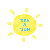 Text Sea and Sun written with a rough brush. Sunny watercolor background.