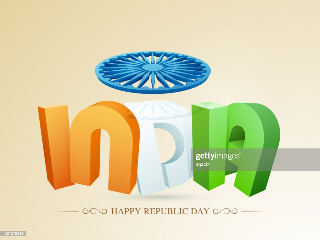 3D text with Ashoka Wheel for Indian Republic Day.