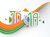 Text with waves and Ashoka wheel for Indian Republic Day.