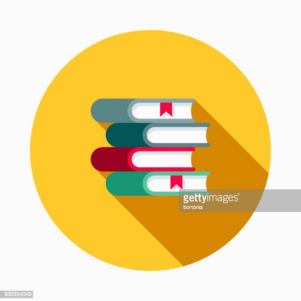 textbook flat design school supplies icon with side shadow - book stock illustrations