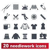 Textile Industry, Fashion, Needlework, Sewing And Knitting Icons