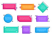 Texting boxes. Colored quote box speech bubble template text note brackets citation page empty frame stickers cartoon vector isolated