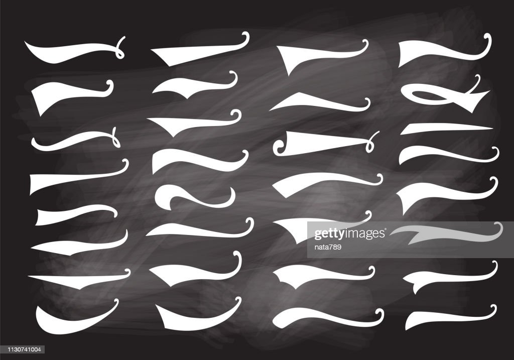 Texting tails. Swoosh and swash vector set. Font tail for baseball and football sport logo design. Swish, Swirl  elements on chalkboards.