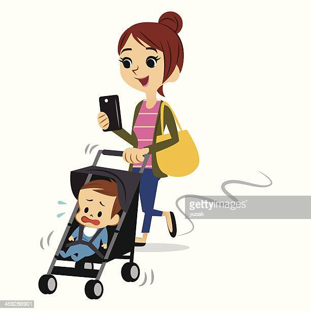 texting while walking - three wheeled pushchair stock illustrations, clip art, cartoons, & icons