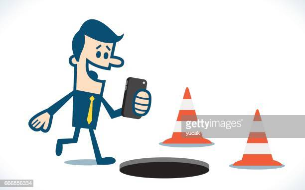 texting while walking - misfortune stock illustrations, clip art, cartoons, & icons