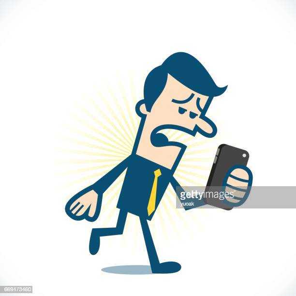 texting while walking - careless stock illustrations, clip art, cartoons, & icons