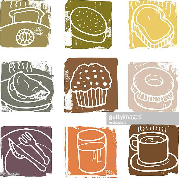 Textured breakfast icons