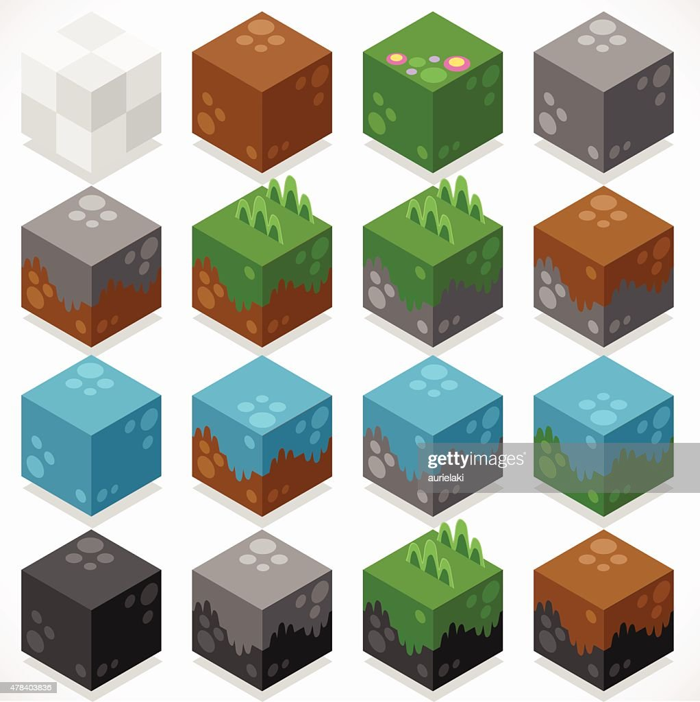 Textured Cubes Mine Elements Builder Craft Kit