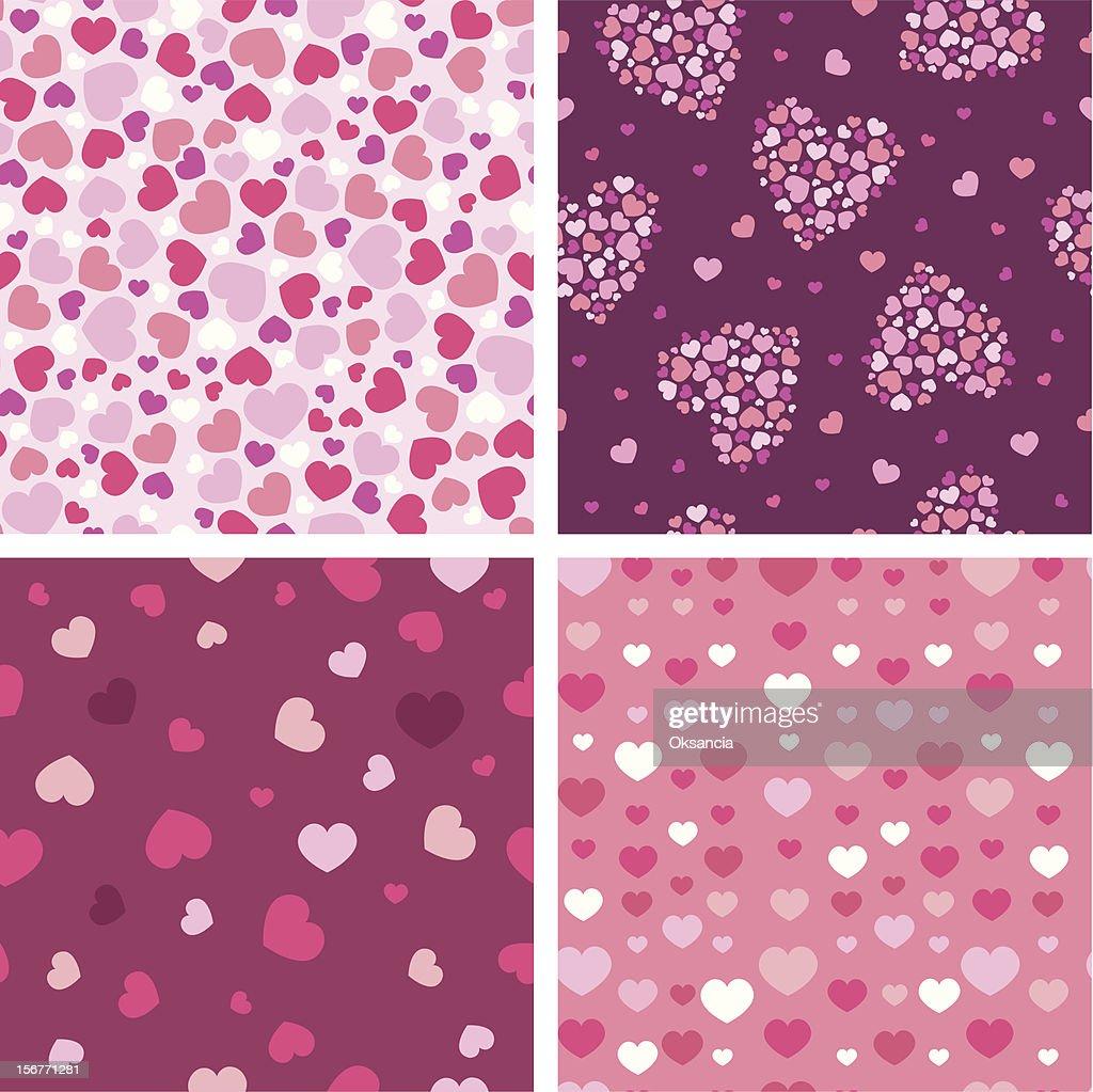 Textured Seamless Hearts Patterns Set