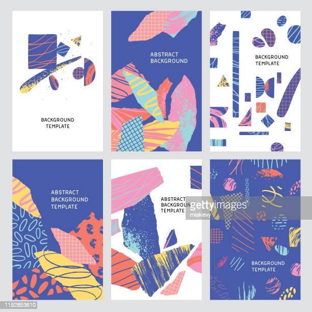 illustrazioni stock, clip art, cartoni animati e icone di tendenza di sfondi collage di forme strutturate - quadrato composizione