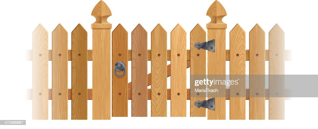 Textured wooden fence and gate with columns.