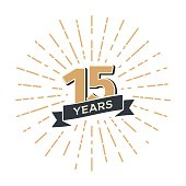 15 th anniversary retro vector emblem isolated template. Vintage icon Fifteen years with ribbon and salute on white background