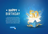 50 th years anniversary banner with open burst gift box. Template fiftieth birthday celebration and abstract text on blue background vector illustration.