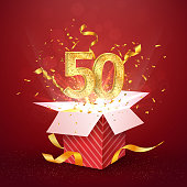 50 th years number anniversary and open gift box with explosions confetti isolated design element. Template fifty fiftieth birthday celebration on red background vector Illustration.