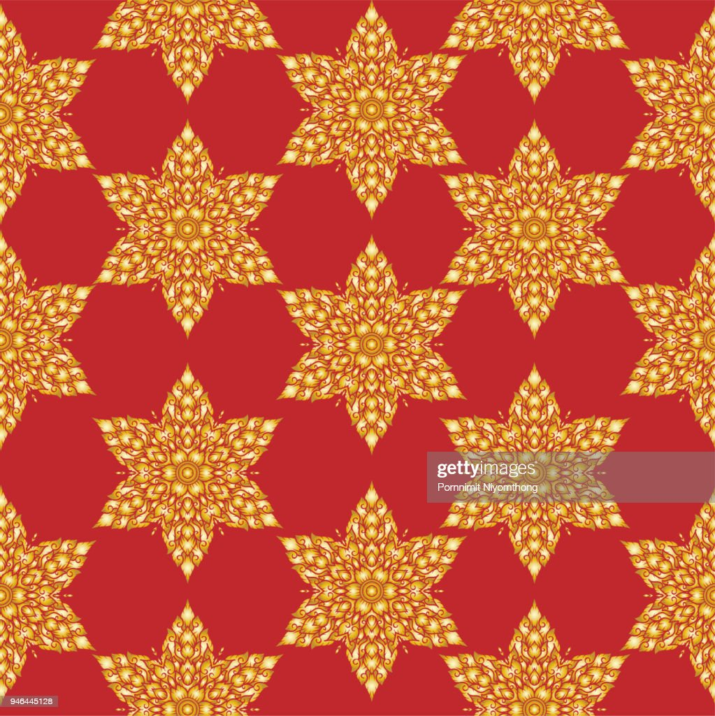 Thai ancient. Asian traditional art Seamless pattern,Thai traditional ( Lai Thai). Mandala thai style. for Travel in Thailand During vector.poster, greeting card, party invitation, banner other users