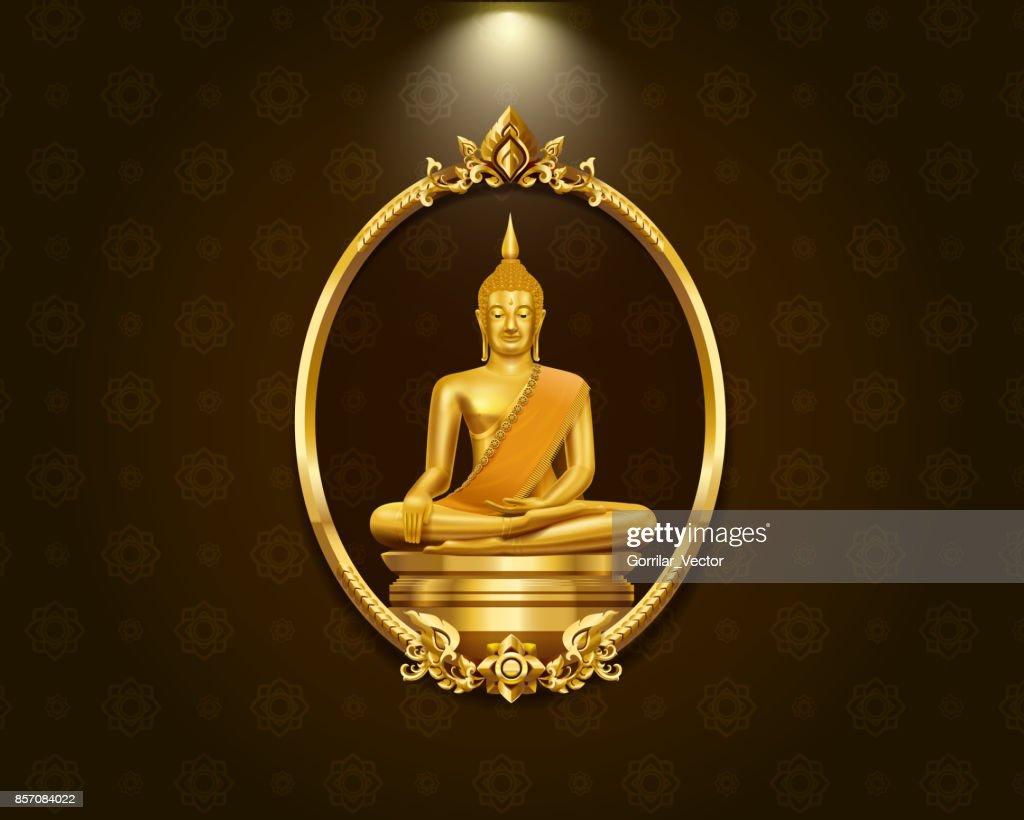 Thailändische Kunst Rahmen Grenze Muster Und Buddha Statue Hallo ...