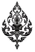 Thai arts angel, vector pattern