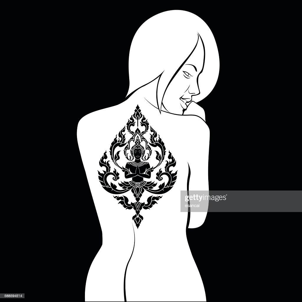 Thai arts angel, vector tattoo on body