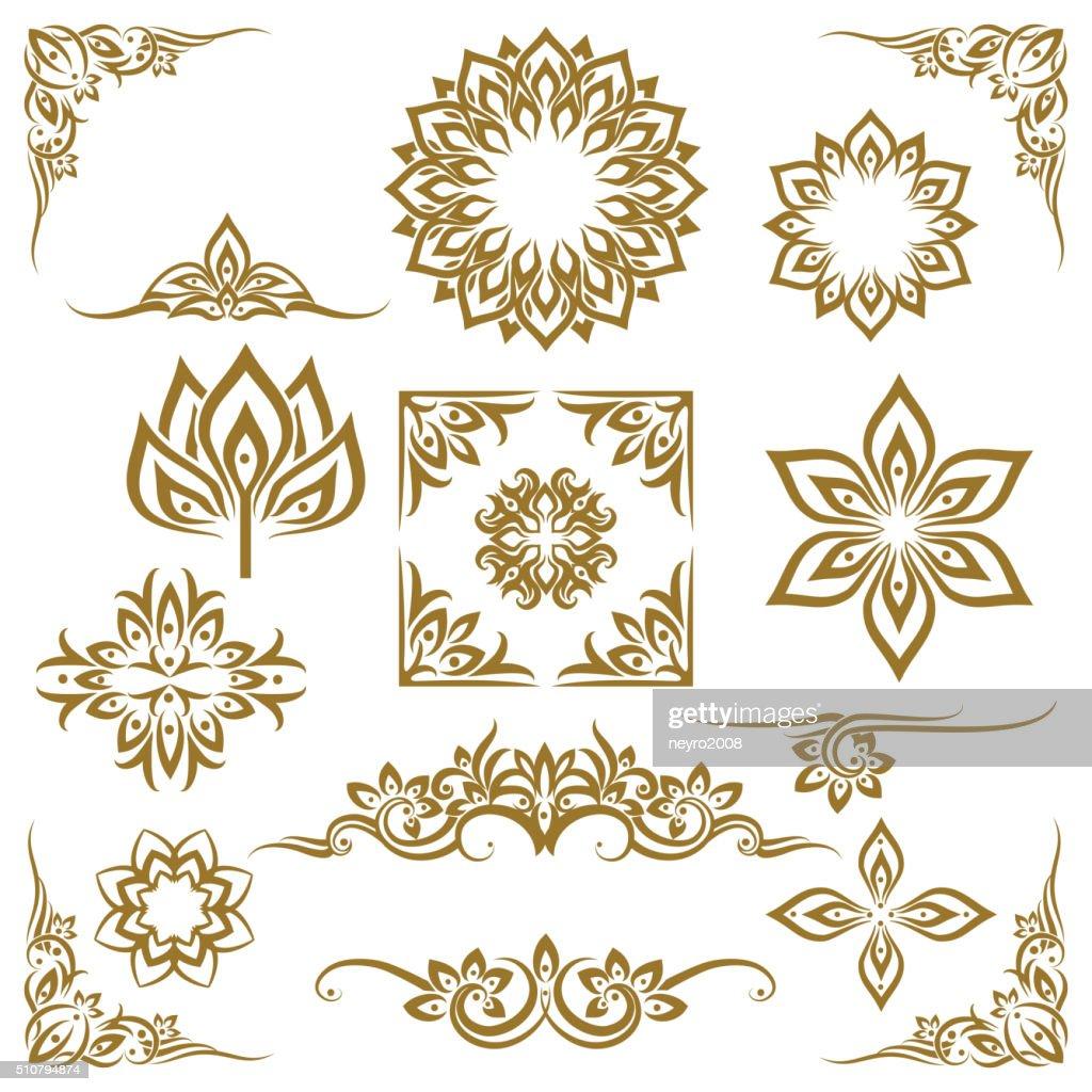 Thai ethnic decorative elements vector