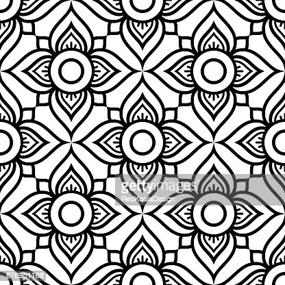 Thai Blumen Nahtloser Vektormuster Schwarz Floral Repetitive Design