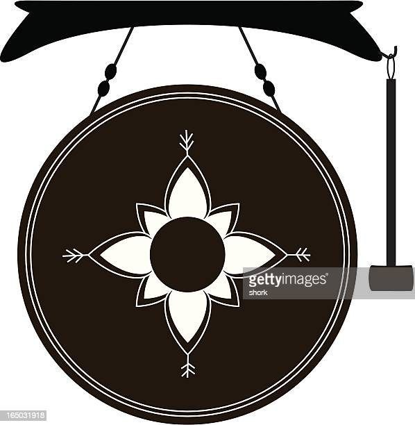 thai gong (vector) - percussion mallet stock illustrations