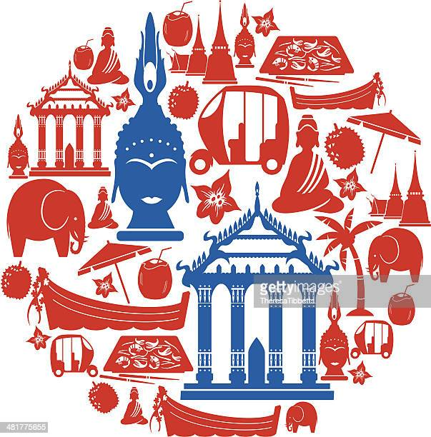thai icon montage - thailand stock illustrations