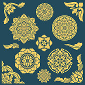 Thai, indian and persian ethnic decorative vector patterns and frames