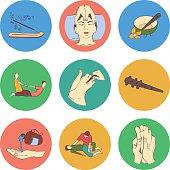 Thai massage isolated flat color icon set