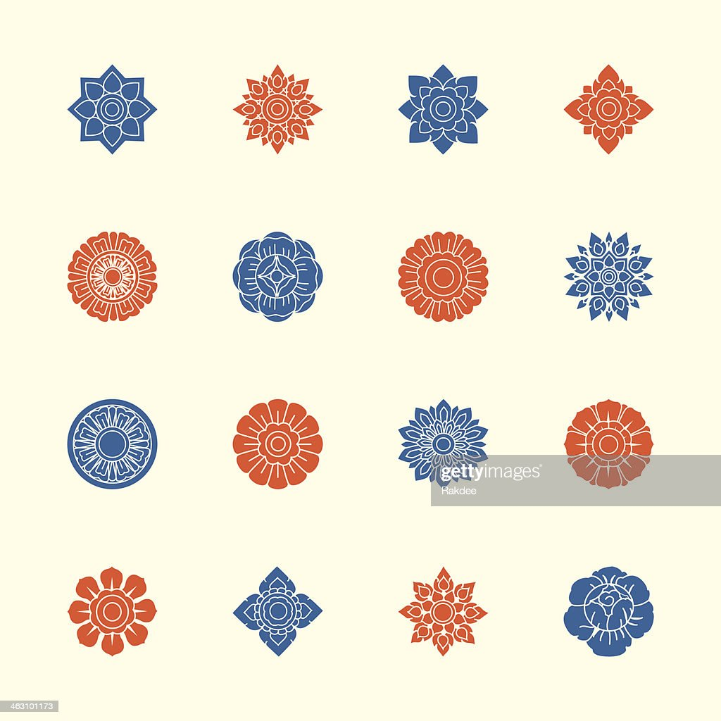 Thai Motifs Flowers Icons Set 1 - Color Series : stock illustration