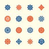 Thai Motifs Flowers Icons Set 1 - Color Series