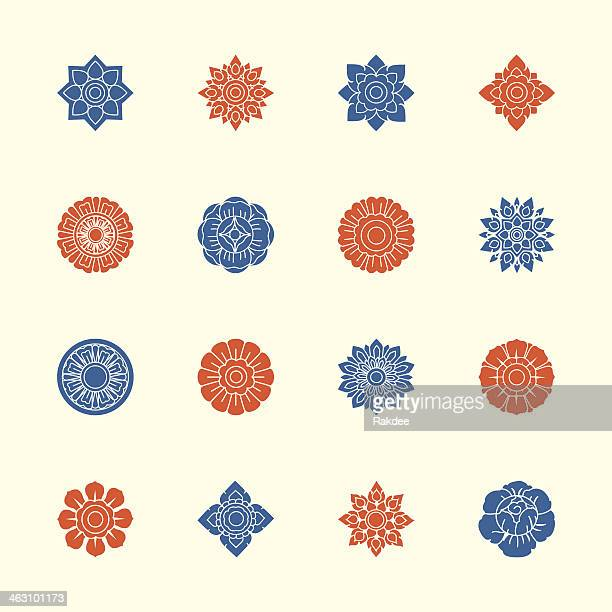 Thai Motifs Flowers Icons Set 1 - Color Series