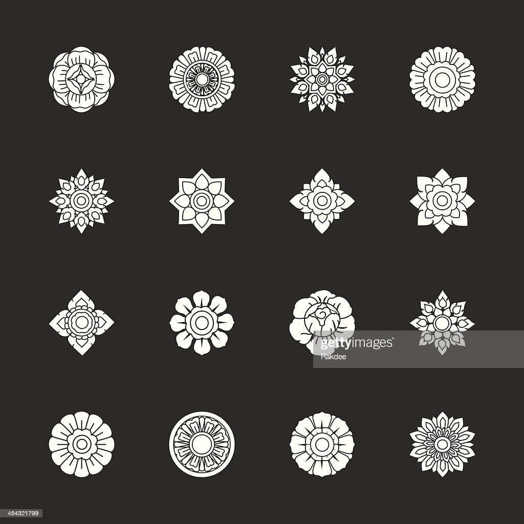 Thai Motifs Flowers Icons Set 1 - White Series : stock illustration