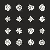 Thai Motifs Flowers Icons Set 1 - White Series