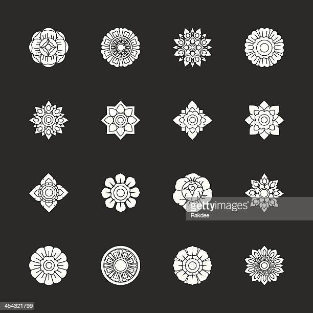 Thai Motifs Flowers Icons Set 1 - White Series