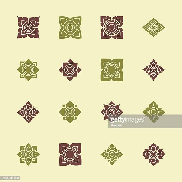 Thai Motifs Flowers Icons Set 3 - Color Series