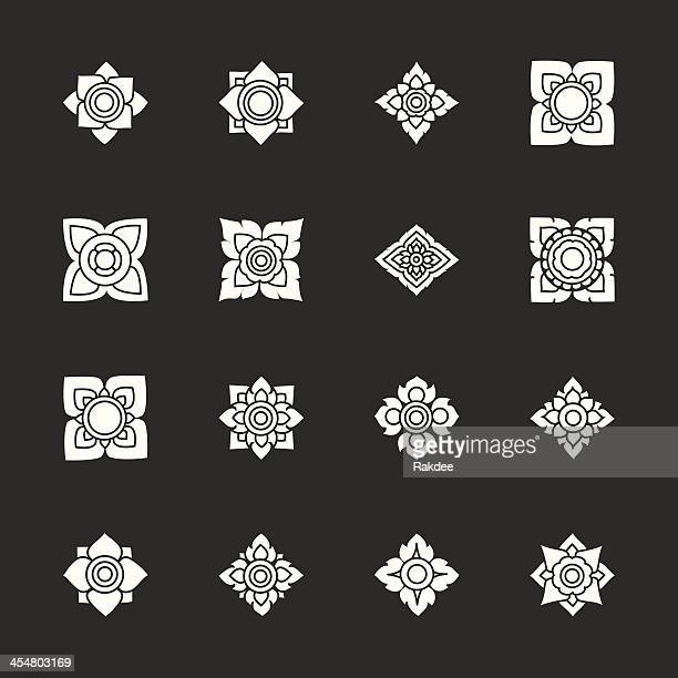 Thai Motifs Flowers Icons Set 3 - White Series